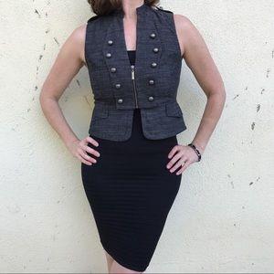Tops - GRAY VEST waistcoat Zipper PEPLUM TOP M black